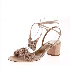 AQUAZZURA Vintage Pink Nude Fringe Block Heel 39